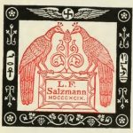 Symbolic Book Plate in red and black, designed by the owner, L. F. Salzmann, Esq.