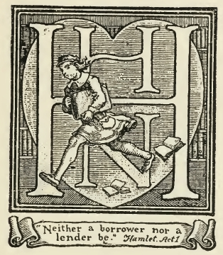 Book Plate with monogram and heart with figure and scroll.
