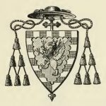 Armorial Book Plate with archbishop's hat and cross.