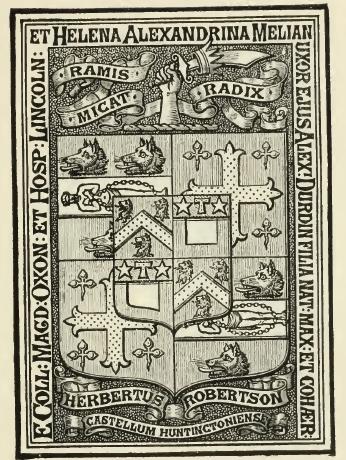 An interesting heraldic Book Plate, with quarterings. Herbert Robertson, Esq., M.P.